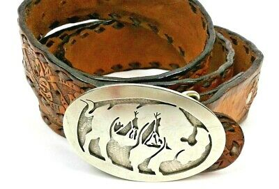 Men's or Women's SheyenneLeather Belt Hand Laced & Tooled Mena AR Silver Buckle