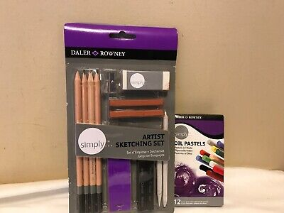 New Dixon DALER-ROWNEY 13 pc Simply ARTIST SKETCHING PENCIL Pastel Charcoal SET+