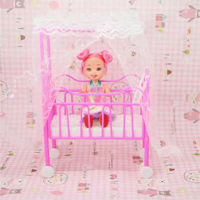 Plastic Baby Bed Miniature Dollhouse Toy Bedroom Furniture For Dolls AL
