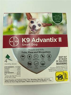 NEW 4 Month Pack K9 Advantix II Small Dog 14-10 lbs Ticks, Fleas & Mosquitoes