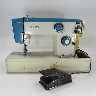 Heavy Duty Turquoise Working White Model 455 Sewing Machine with Pedal & Case