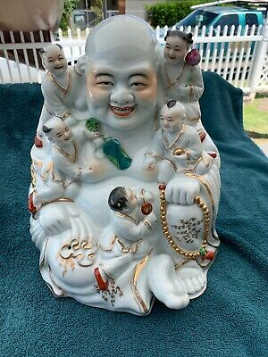 Beautiful Old Laughing Buddha With Children Mid Century Export Signed MUST SEE