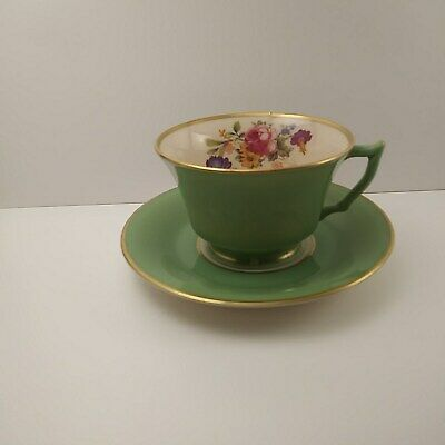 O.P. Co. Syracuse China Old Ivory Demitasse Green Floral Cup and Saucer