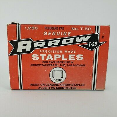 "Vintage Arrow 5/16"" Precision Made Staples 1,250 Pegboard Pack T-50 T-55 HT-50M"