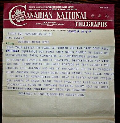 1949 Newfoundland Cn Telegraph - Pepsi Cola Sales & Distribution Dispute - Rare