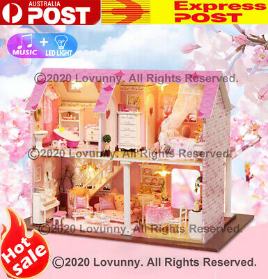 AU DIY LED Music Fancy House Dollhouse Miniature Wooden Furniture Kit Doll House