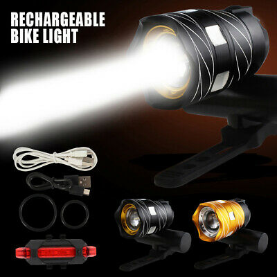 15000LM Bike Front Rear Light Set USB Rechargable Lamp Flashlight Bicycle LED*