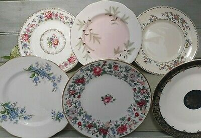 Beautiful Vintage Mismatched Floral Bone China Tea Side/salad Plates x6 x 8nch/