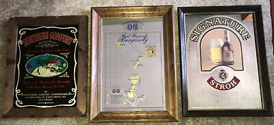 3 Vtg Mirror Wall Signs: Southern Comfort/B&G Red Wines Burgundy/Signature Stroh