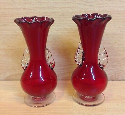 Victorian Cranberry Glass Pair of Small Handled Vases.