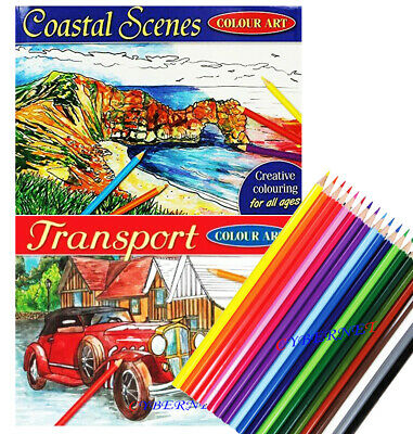 COASTAL SCENES TRANSPORT  MIND RELAXING COLOURING BOOK Adult Stress Relief