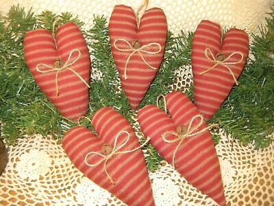 5 Rustic Red Fabric Hearts Primitive Home Decor Country Wreath Accents Handmade