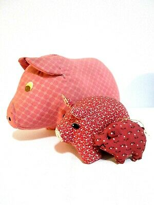 Vintage 1980's Stuffed Pigs Pig Decor Set of 3 Pink Maroon Country Farmhouse