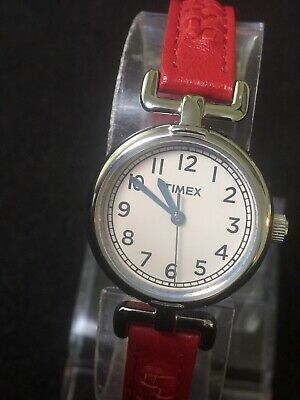 Timex Ladies White Face Gray easy Reader number, Genuine Timex Leather Band.