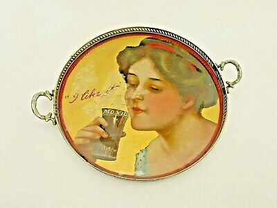 Rare Antique Moxie Cola Advertising Sign - Reverse Glass & Metal Serving Tray