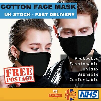 Mouth Face Mask Reusable Mask Washable Easy Breathe Stretch Black Adult Mask UK