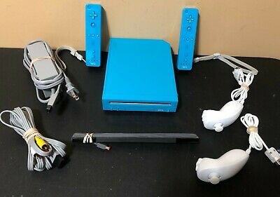 Nintendo Wii Blue Console System Bundle -4 Games + Controller + More Tested
