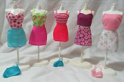 5 Barbie Summer Skirt Sets Top & Skirt Clothes 3 Purses Lot Red Purple Pink Blue