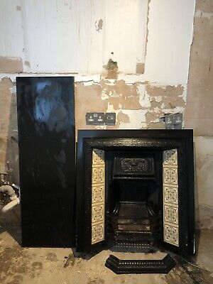 Genuine Antique Victorian Cast Iron Tiled Fireplace, Hearth & Surround Stunning!