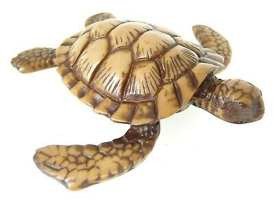 """Small Sea Turtle Figurine Brown Resin Statue Wall Hanging or Table Top Decor 4"""""""