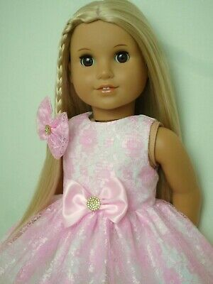 Handmade American Girl Our Generation Pink Lace Party Dress 18 Inch Doll Clothes