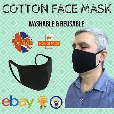 Mouth Face Mask Reusable Mask Washable Breathable Protect Black Adult Mask UK