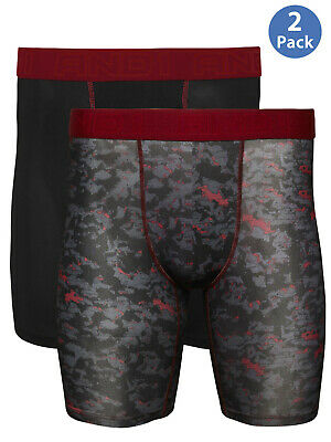 ***New And1 Men's Gray Black Red 2 Pack Long Length Stretch Boxer Briefs Wicking
