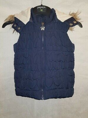 Gorgous navy blue quilted SWEET MILLIE faux fur hooded gilet jacket age 5 Years