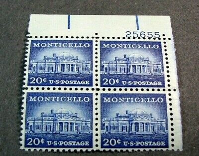 US Plate Blocks Scott# 1047 Monticello 1956 (some gum skip)  MNH  L374