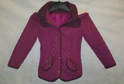 Gorgous purple quilted GEORGE hooded jacket coat age 4 5 Years