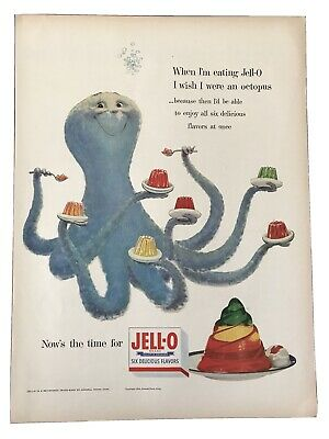 1954 Jello Vintage Ad When I'm Eating Jell-O I Wish I Were An Octopus
