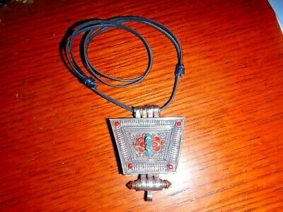 Antique Sterling Silver  with Coral and Turquoise Snuff Box Necklace