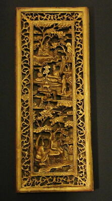 Large Antique Chinese Gilt Wood Statue Figurine Carving Panel 老的竹匾