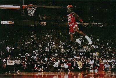 Michael Jordan Slam Dunk Poster Free Throw Contest Basketball 24 x 36 New