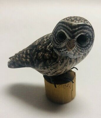 Owl Hand Carved & Painted Owl On Piece Of Wood Bird Carving Figurine