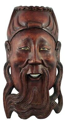 Vintage Chinese Wood Carving Face Mask, Man Wall Hanging Carved Sculpture