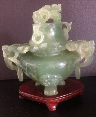 vintage chinese Hand carved Jade Incense Burner Dragon 6""