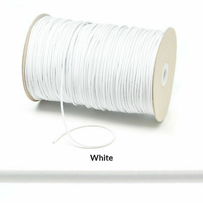 Free shipping 3mm Round Soft Premium Elastic white 10-100 yards from Canada