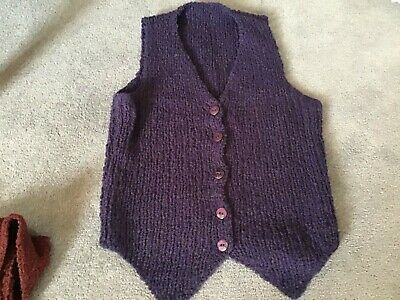 """Ladies Land Purple Girls Hand Knitted Waistcoat Gillet 32-34"""" Chest Stretchy"""