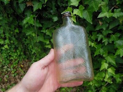 Antique Clear Glass Spider Web Spiders Prohibition Whisky Bottle 1 Pint Empty