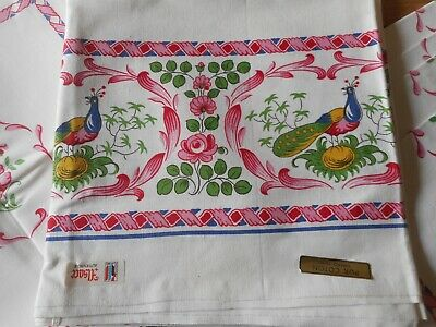 Vintage French  Alsace Faience Floral Fowl Rooster Cotton Fabric Table Cloth Nap
