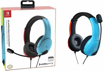 Auriculares Cascos Gaming Stereo LVL40 con Cable para Switch Rojo/Azul NUEVO