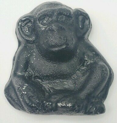 Cast Iron Black Monkey Chimpanzee Chimp Sitting Paper Weight Vtg