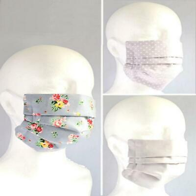 Premium 100% Cotton Triple Layer Face Mask Covering With Nose Clip Grip