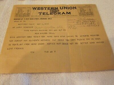 Four 1917 Vintage Western Union Telegrams to Adolph Honegger (Musician)