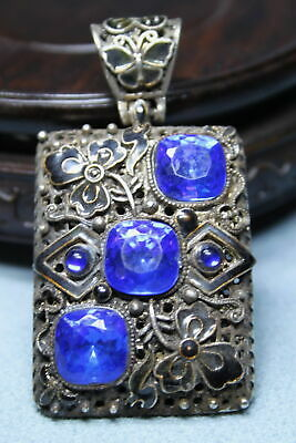 Collectable Exquisite Ancient Miao Silver Inlay Three Blue Gems Precious Pendant