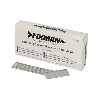 Fixman 19 x 1.25mm Galvanised Smooth Shank Nails 18G 5000pk Brads & Staples