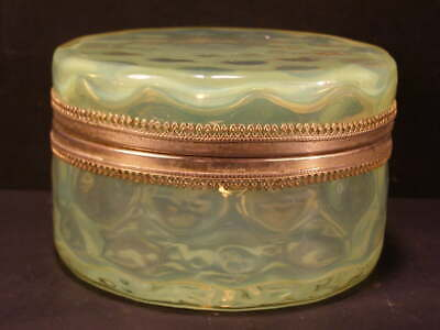 ~Antique Vaseline Glass Coin Spot Jewelry Casket Trinket Powder Jar Hinged Box`