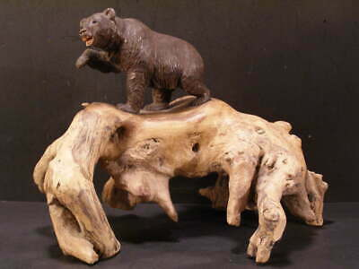 ~1800s Antique Brienz Black Forest Hand Carved Bear Swiss Statue Sculpture Wood~
