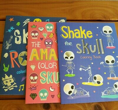 3 Adult Stress Relieving Coloring Books by Vision St.Skulls Super cute